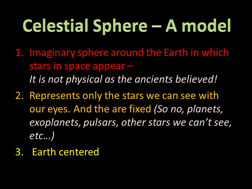 Earth centered 55 concentric crystalline spheres Buffering spheres in between Attached to one main sphere - Controlled by the Prime Mover Each sphere rotated at a different rate Orbits were in Uniform circular motion