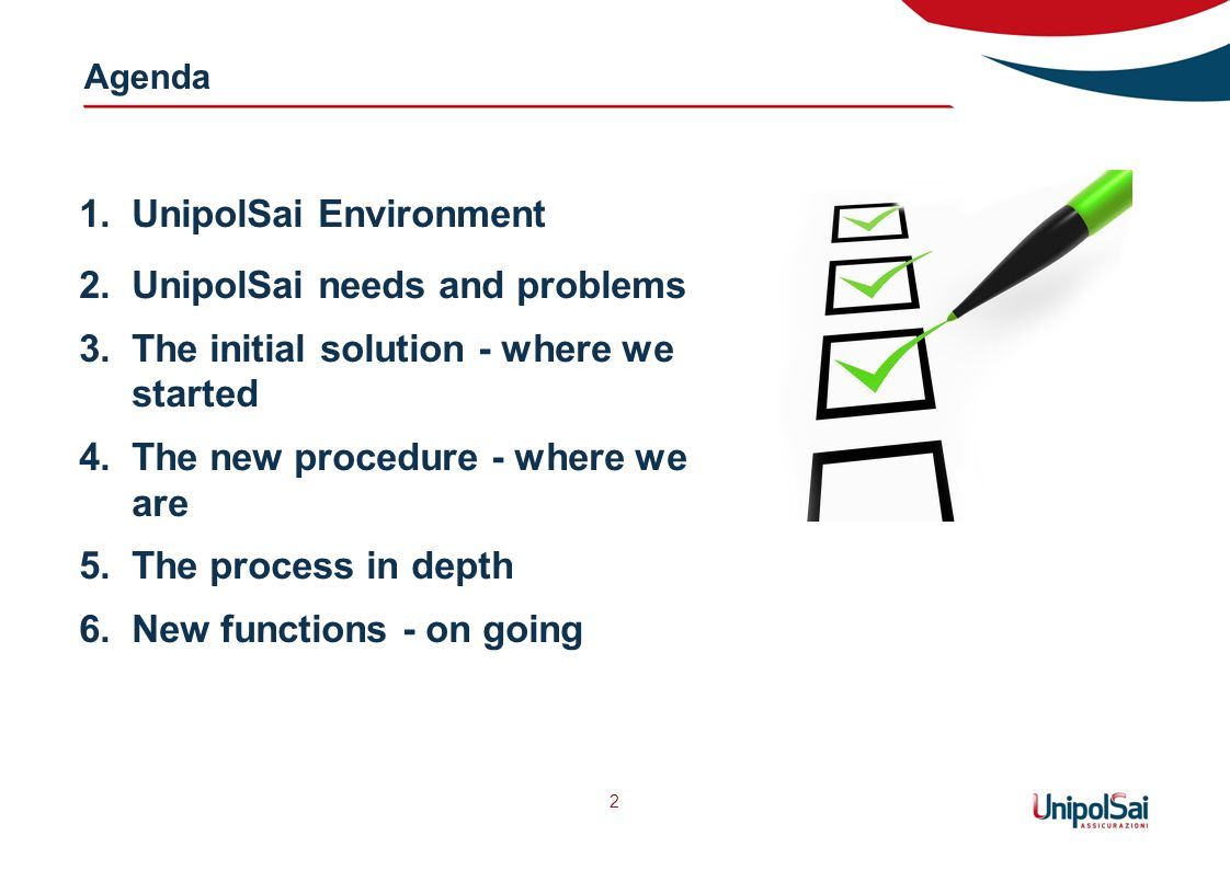 Agenda 2 1.UnipolSai Environment 2.UnipolSai needs and problems 3.The initial solution - where we started 4.The new procedure - where we are 5.The process in depth 6.New functions - on going