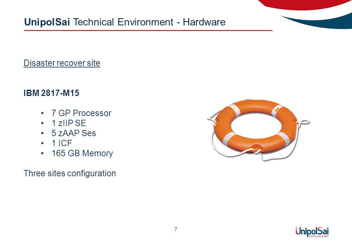 UnipolSai Technical Environment - Hardware 7 Disaster recover site IBM 2817-M15 7 GP Processor 1 zIIP SE 5 zAAP Ses 1 ICF 165 GB Memory Three sites configuration