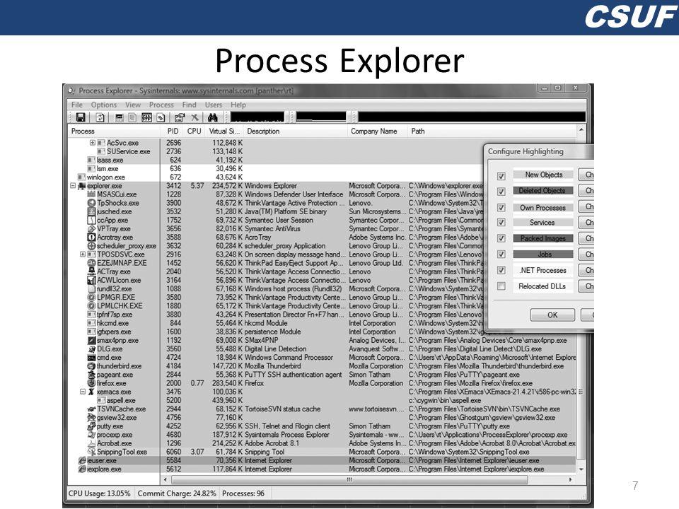 CSUF Process Explorer 7
