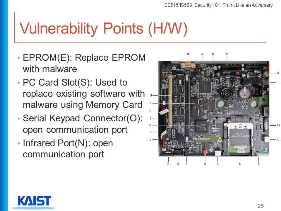 EE515/IS523: Security 101: Think Like an Adversary Vulnerability Points (H/W) EPROM(E): Replace EPROM with malware PC Card Slot(S): Used to replace ex