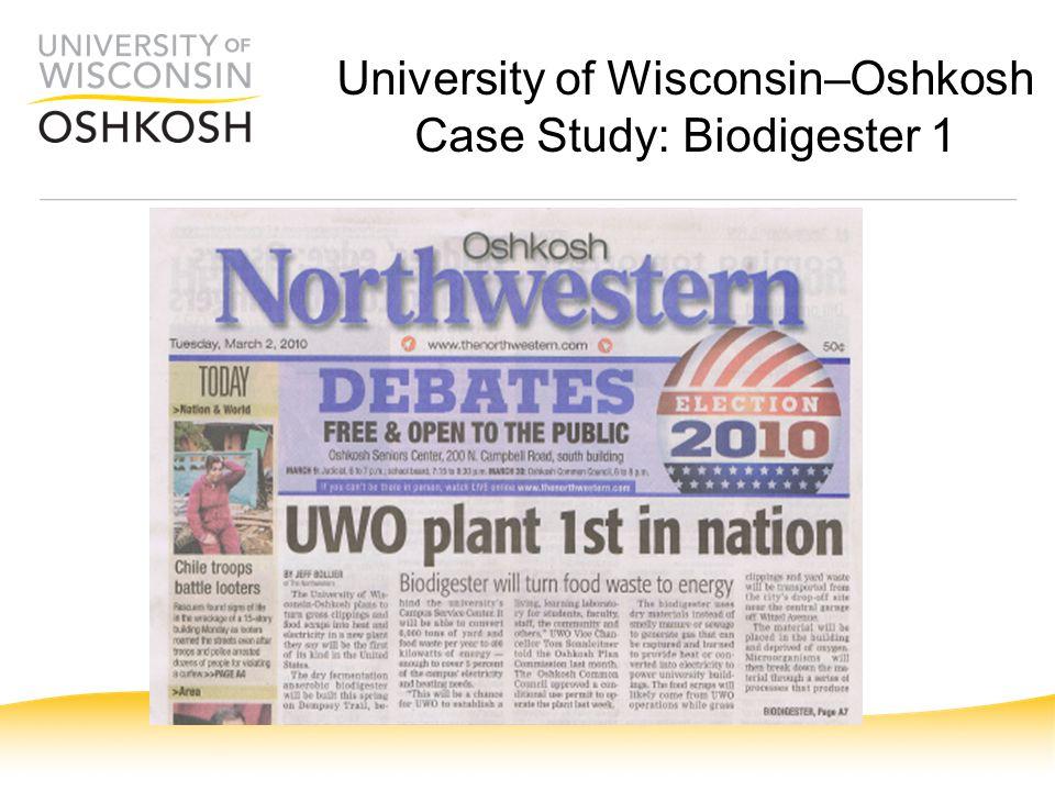 University of Wisconsin–Oshkosh Case Study: Biodigester 1