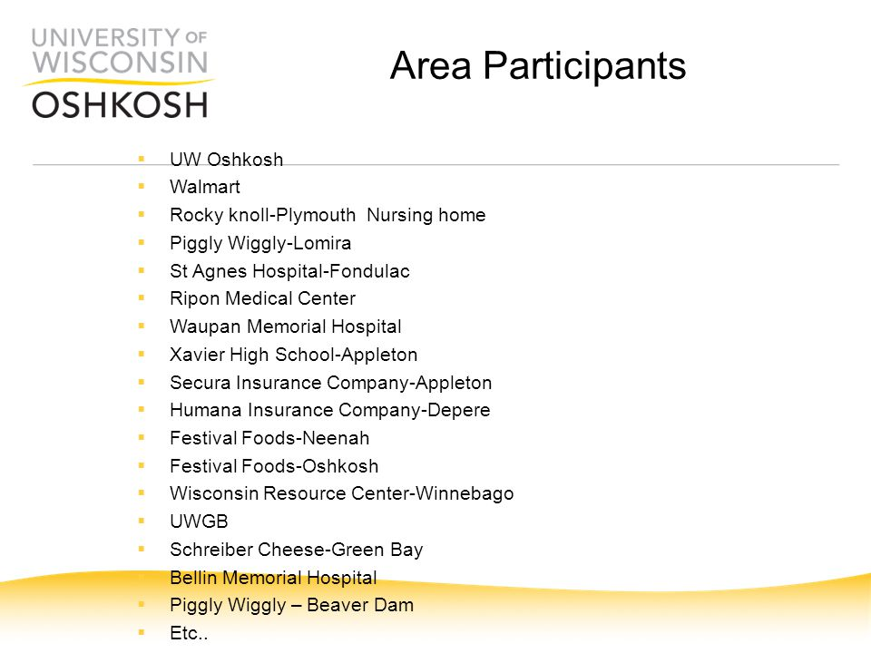 Area Participants  UW Oshkosh  Walmart  Rocky knoll-Plymouth Nursing home  Piggly Wiggly-Lomira  St Agnes Hospital-Fondulac  Ripon Medical Cente
