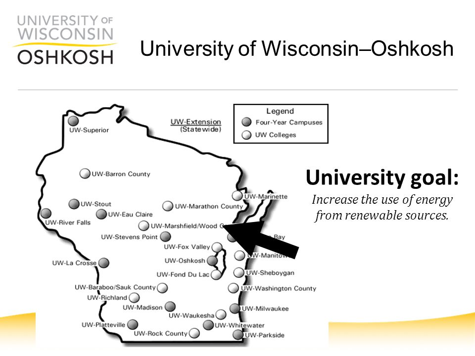 University of Wisconsin–Oshkosh University goal: Increase the use of energy from renewable sources.