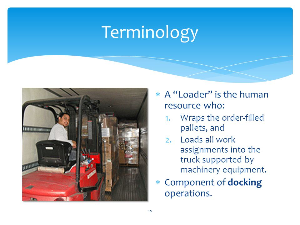 "Terminology  A ""Loader"" is the human resource who: 1.Wraps the order-filled pallets, and 2.Loads all work assignments into the truck supported by mac"