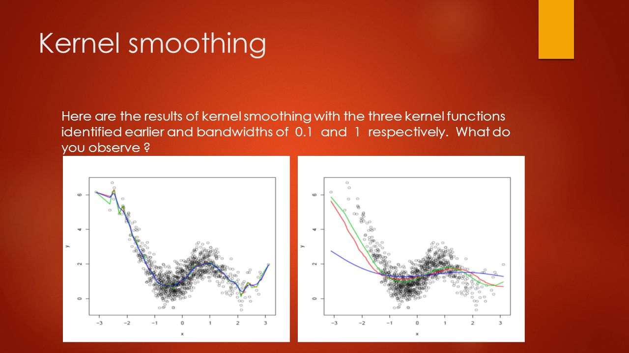 Kernel smoothing Here are the results of kernel smoothing with the three kernel functions identified earlier and bandwidths of 0.1 and 1 respectively.