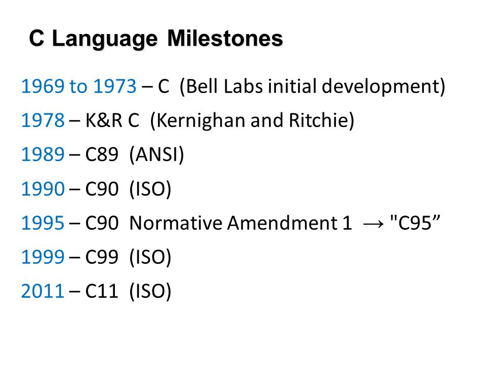 1969 to 1973 – C (Bell Labs initial development) 1978 – K&R C (Kernighan and Ritchie) 1989 – C89 (ANSI) 1990 – C90 (ISO) 1995 – C90 Normative Amendment 1 → C95 1999 – C99 (ISO) 2011 – C11 (ISO) C Language Milestones