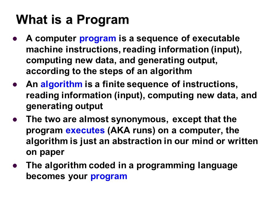 What is a Program A computer program is a sequence of executable machine instructions, reading information (input), computing new data, and generating