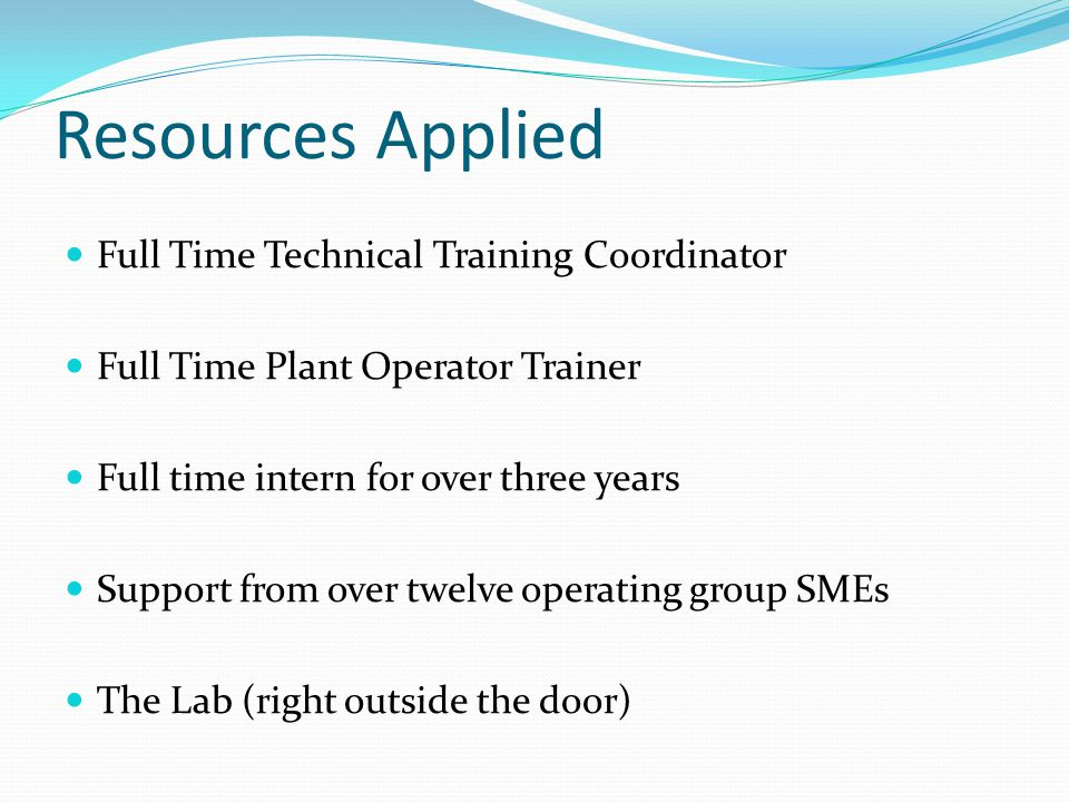 Resources Applied Full Time Technical Training Coordinator Full Time Plant Operator Trainer Full time intern for over three years Support from over twelve operating group SMEs The Lab (right outside the door)