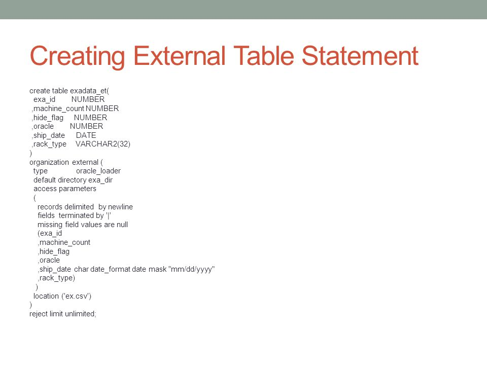 Creating External Table Statement create table exadata_et( exa_id NUMBER,machine_count NUMBER,hide_flag NUMBER,oracle NUMBER,ship_date DATE,rack_type VARCHAR2(32) ) organization external ( type oracle_loader default directory exa_dir access parameters ( records delimited by newline fields terminated by | missing field values are null (exa_id,machine_count,hide_flag,oracle,ship_date char date_format date mask mm/dd/yyyy ,rack_type) ) location ( ex.csv ) ) reject limit unlimited;