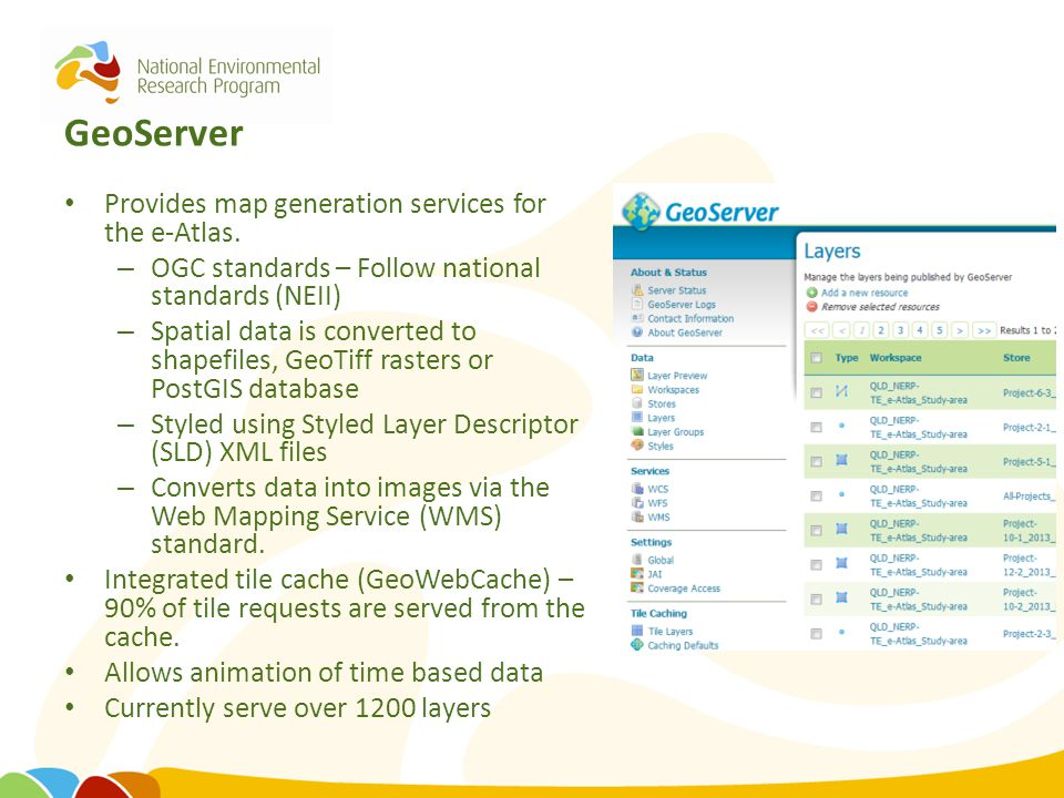 GeoServer Provides map generation services for the e-Atlas. – OGC standards – Follow national standards (NEII) – Spatial data is converted to shapefil