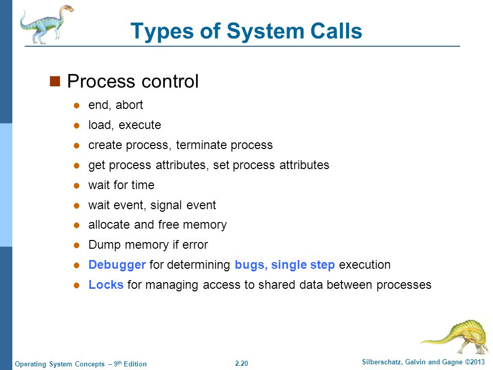 2.20 Silberschatz, Galvin and Gagne ©2013 Operating System Concepts – 9 th Edition Types of System Calls Process control end, abort load, execute create process, terminate process get process attributes, set process attributes wait for time wait event, signal event allocate and free memory Dump memory if error Debugger for determining bugs, single step execution Locks for managing access to shared data between processes