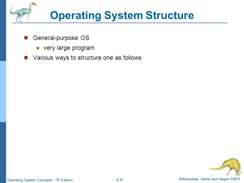 2.35 Silberschatz, Galvin and Gagne ©2013 Operating System Concepts – 9 th Edition Operating System Structure General-purpose OS very large program Va