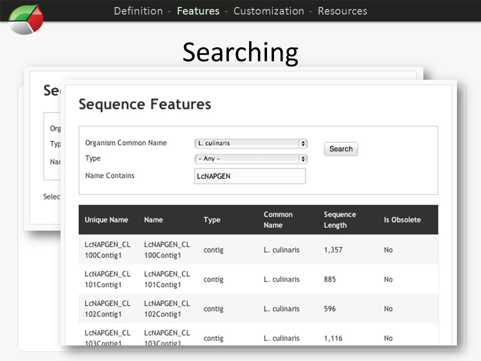 Searching Can be customized through the web interface Results listed as either a table or grid Advanced search capabilities as well as simple keyword searching Definition - Features - Customization - Resources
