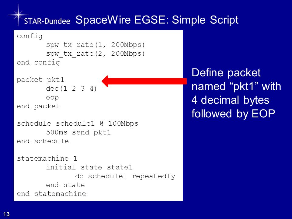 SpaceWire EGSE: Simple Script 13 config spw_tx_rate(1, 200Mbps) spw_tx_rate(2, 200Mbps) end config packet pkt1 dec(1 2 3 4) eop end packet schedule schedule1 @ 100Mbps 500ms send pkt1 end schedule statemachine 1 initial state state1 do schedule1 repeatedly end state end statemachine Define packet named pkt1 with 4 decimal bytes followed by EOP