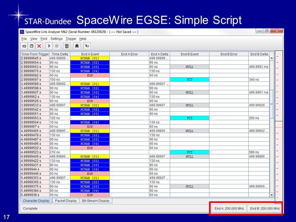 SpaceWire EGSE: Simple Script 17