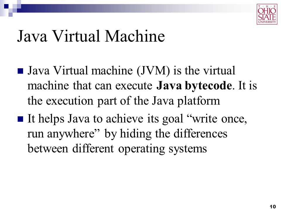 Java Virtual Machine Java Virtual machine (JVM) is the virtual machine that can execute Java bytecode.