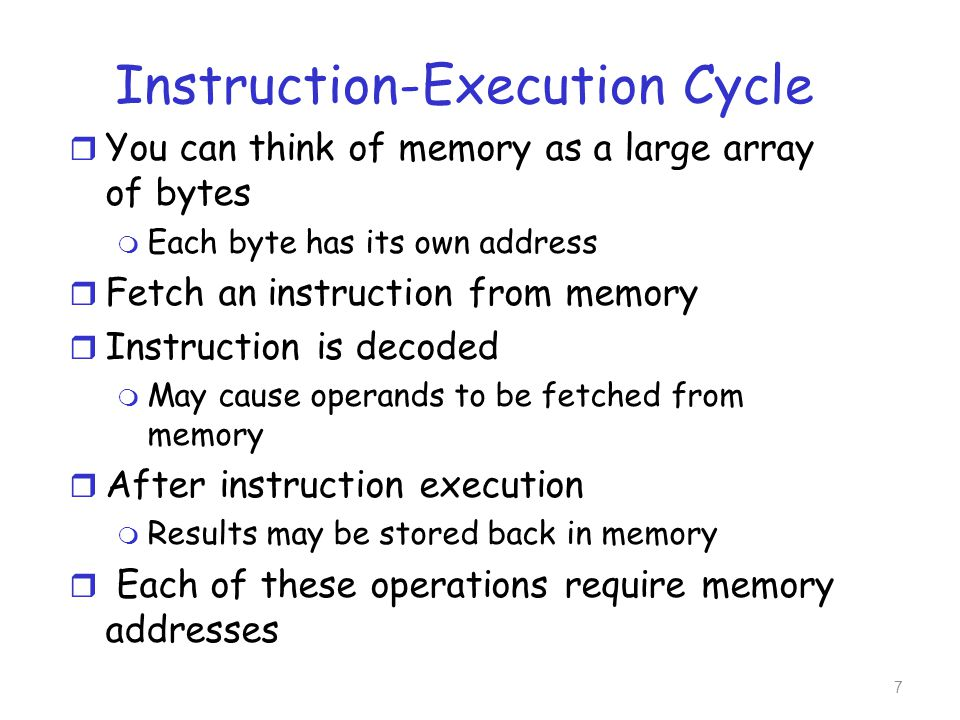 Registers On-chip Cache Main Memory Disk Memory Hierarchy r Registers built into the CPU are generally accessible within one cycle of the CPU clock r Completing a memory access may take many cycles of the CPU clock 8
