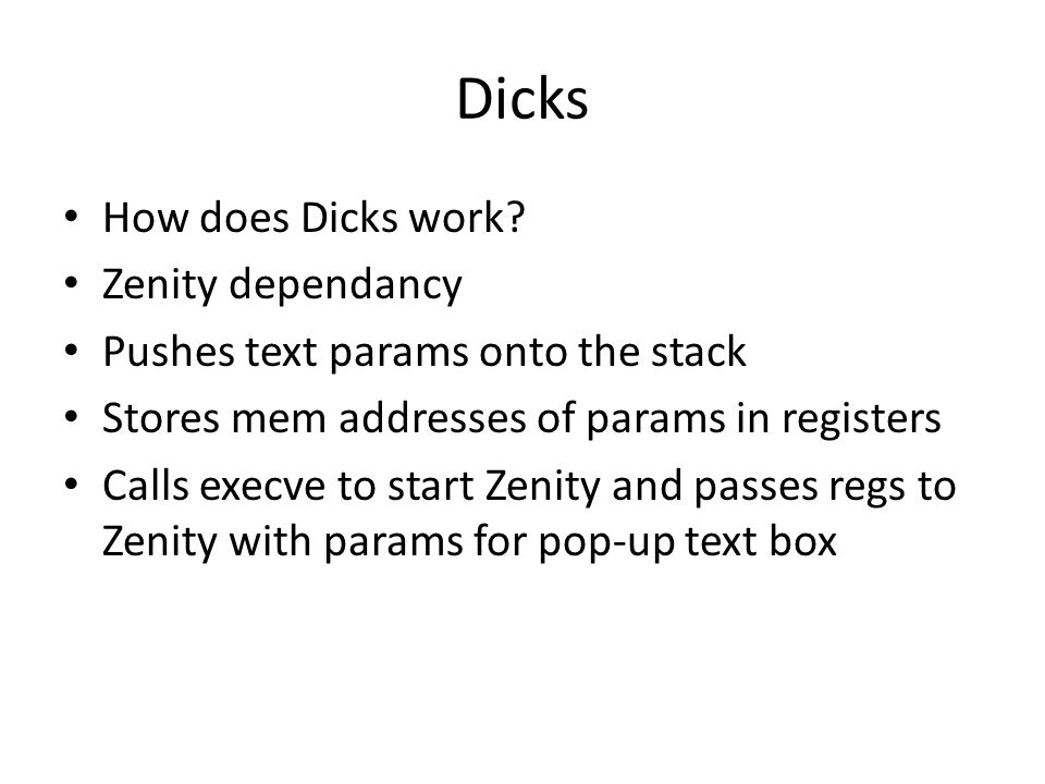 Dicks How does Dicks work.
