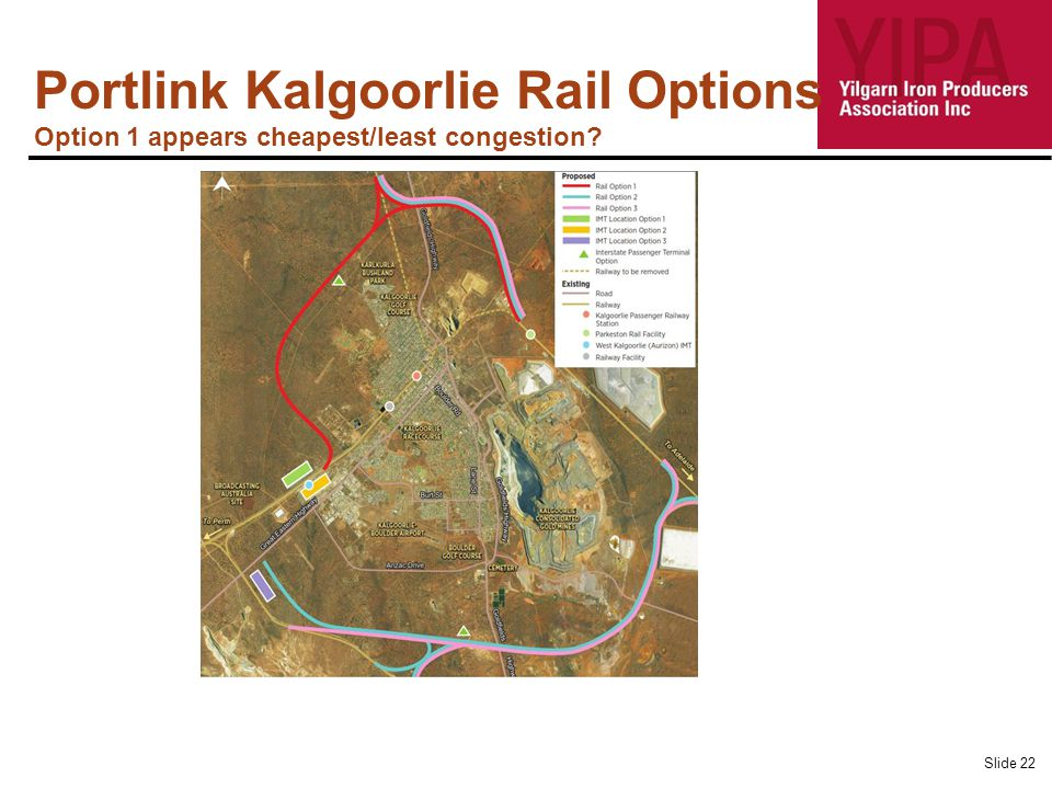 Portlink Kalgoorlie Rail Options Option 1 appears cheapest/least congestion Slide 22