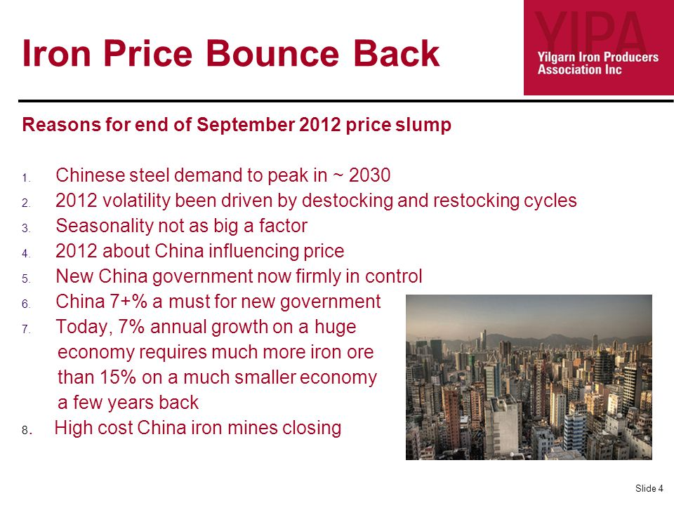 Iron Price Bounce Back Reasons for end of September 2012 price slump 1.