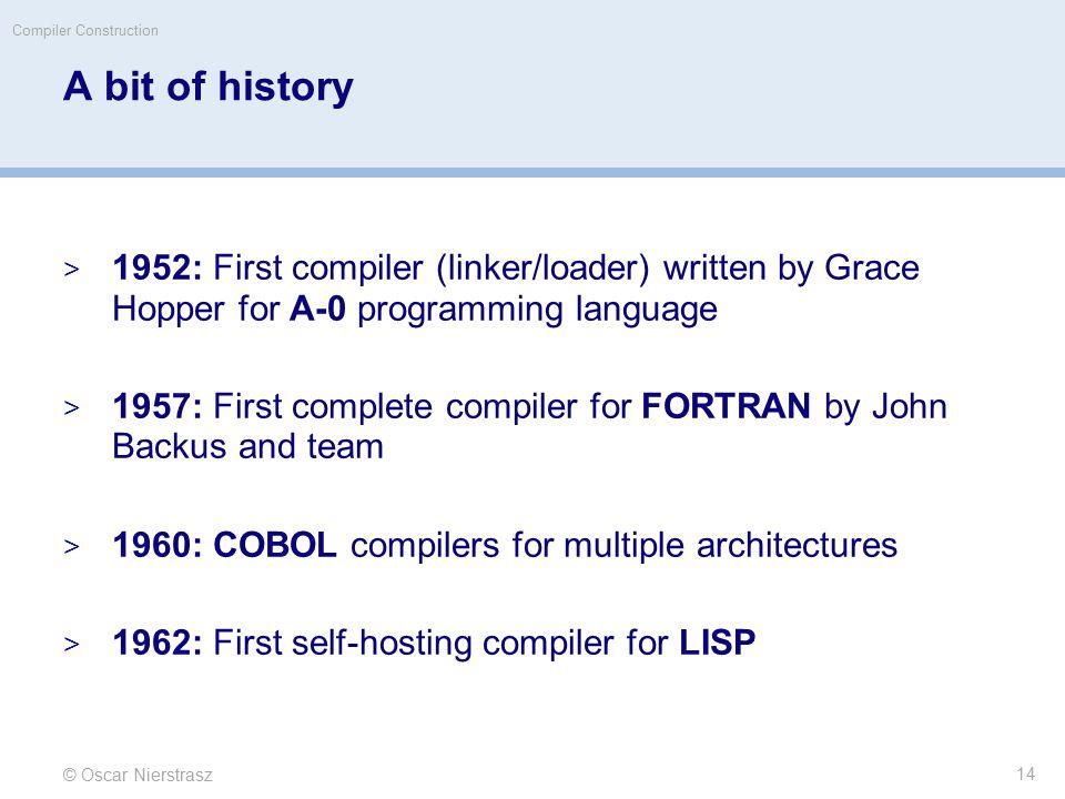© Oscar Nierstrasz Compiler Construction A bit of history  1952: First compiler (linker/loader) written by Grace Hopper for A-0 programming language  1957: First complete compiler for FORTRAN by John Backus and team  1960: COBOL compilers for multiple architectures  1962: First self-hosting compiler for LISP 14