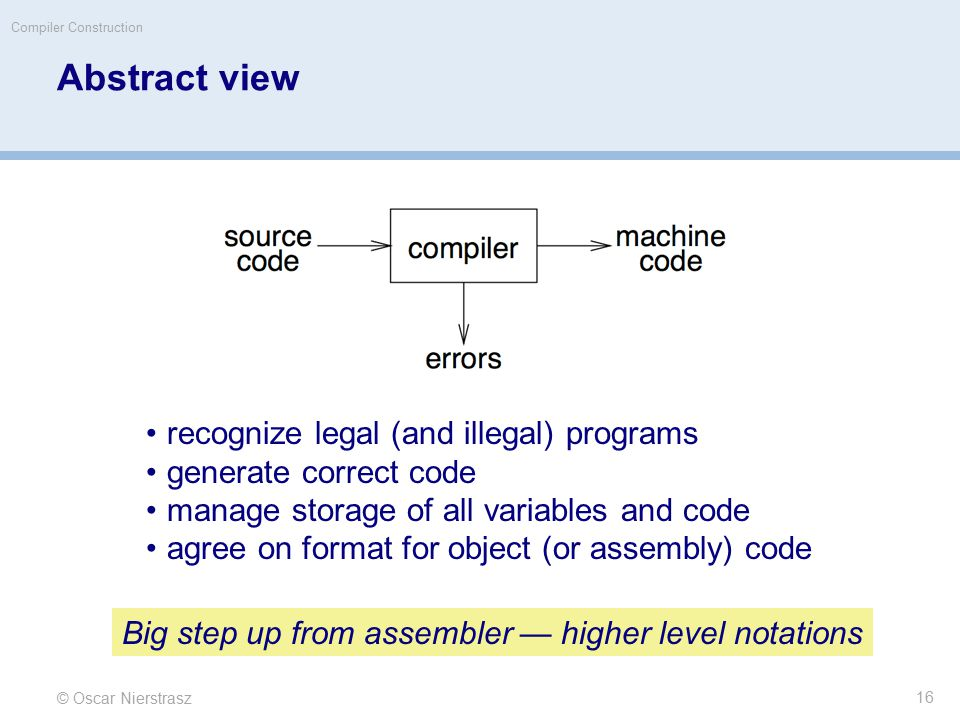 © Oscar Nierstrasz Compiler Construction Abstract view recognize legal (and illegal) programs generate correct code manage storage of all variables an