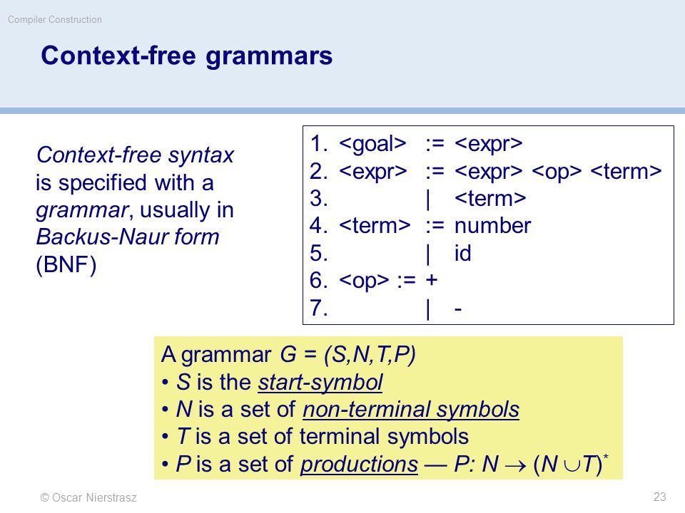 © Oscar Nierstrasz Compiler Construction Context-free grammars 1.