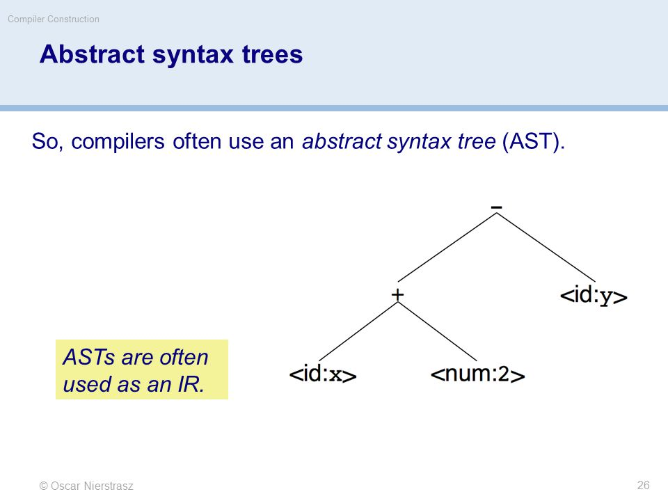 © Oscar Nierstrasz Compiler Construction Abstract syntax trees So, compilers often use an abstract syntax tree (AST).
