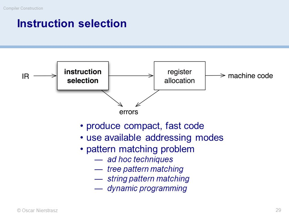 © Oscar Nierstrasz Compiler Construction Instruction selection produce compact, fast code use available addressing modes pattern matching problem —ad hoc techniques —tree pattern matching —string pattern matching —dynamic programming 29