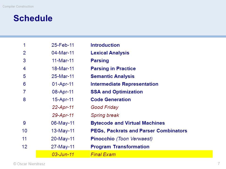 Schedule © Oscar Nierstrasz Compiler Construction 7 125-Feb-11Introduction 204-Mar-11Lexical Analysis 311-Mar-11Parsing 418-Mar-11Parsing in Practice