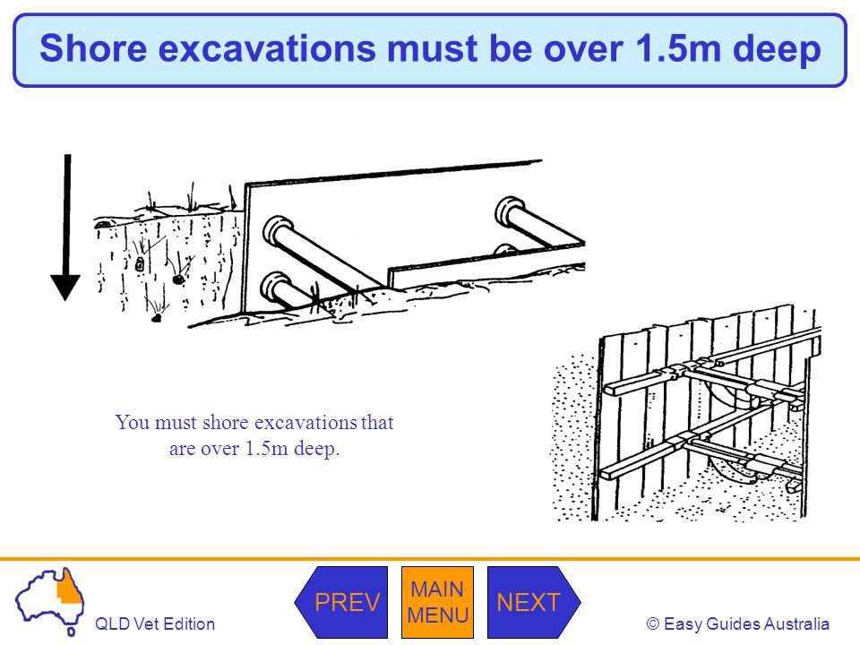 © Easy Guides AustraliaQLD Vet Edition MAIN MENU NEXTPREV Shore excavations must be over 1.5m deep You must shore excavations that are over 1.5m deep.