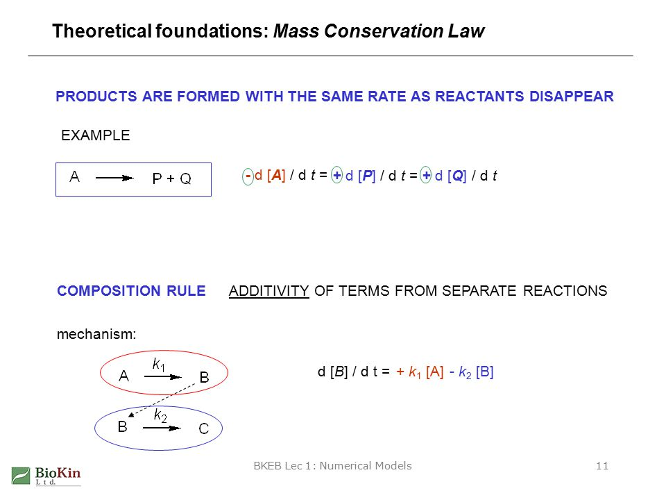 BKEB Lec 1: Numerical Models11 Theoretical foundations: Mass Conservation Law PRODUCTS ARE FORMED WITH THE SAME RATE AS REACTANTS DISAPPEAR - d [A] / d t = EXAMPLE COMPOSITION RULEADDITIVITY OF TERMS FROM SEPARATE REACTIONS mechanism: d [B] / d t = + d [P] / d t = + d [Q] / d t - k 2 [B] + k 1 [A]