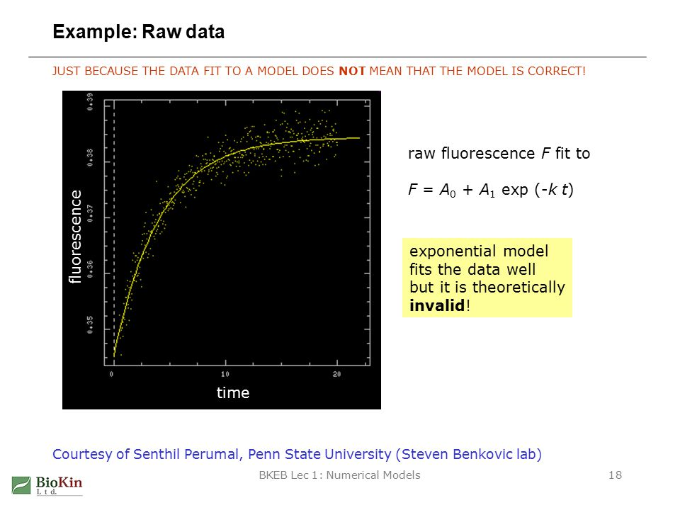 BKEB Lec 1: Numerical Models18 Example: Raw data JUST BECAUSE THE DATA FIT TO A MODEL DOES NOT MEAN THAT THE MODEL IS CORRECT.