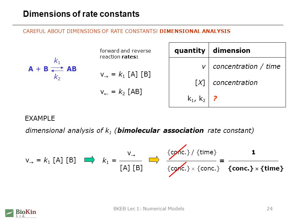 BKEB Lec 1: Numerical Models24 Dimensions of rate constants CAREFUL ABOUT DIMENSIONS OF RATE CONSTANTS.
