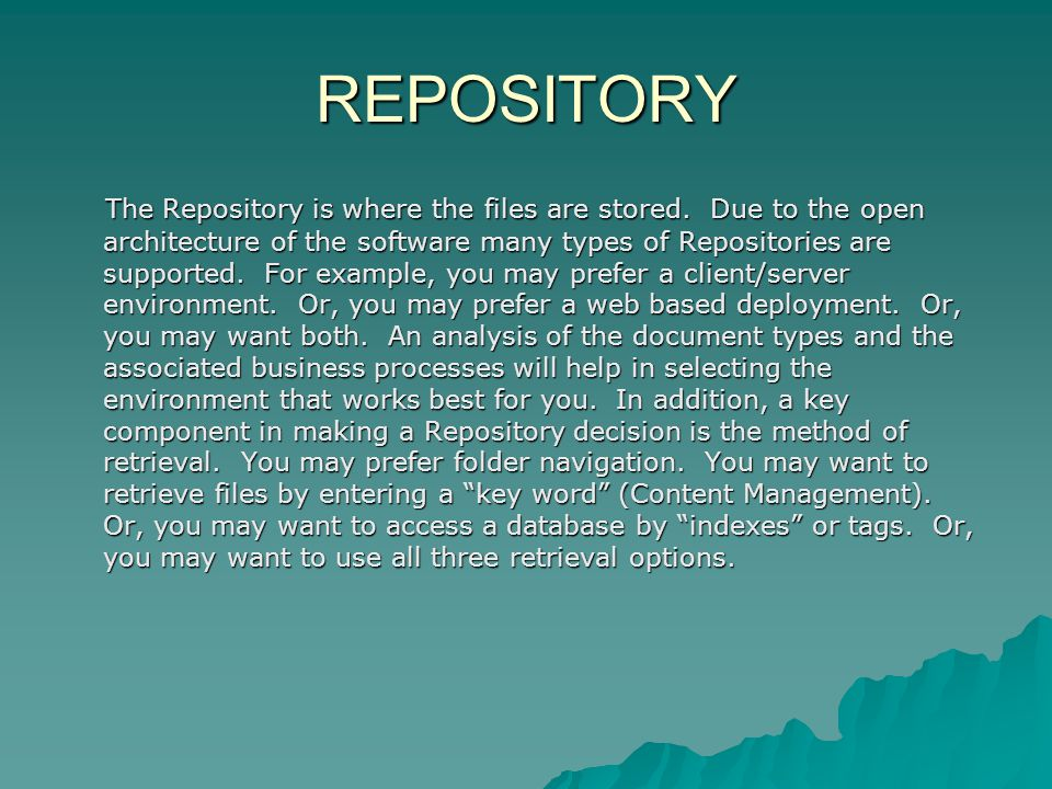 REPOSITORY The Repository is where the files are stored.