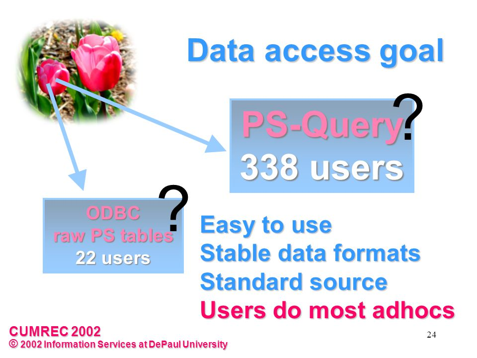 CUMREC 2002 © 2002 Information Services at DePaul University 24 Data access goal Easy to use Stable data formats Standard source Users do most adhocs PS-Query 338 users .