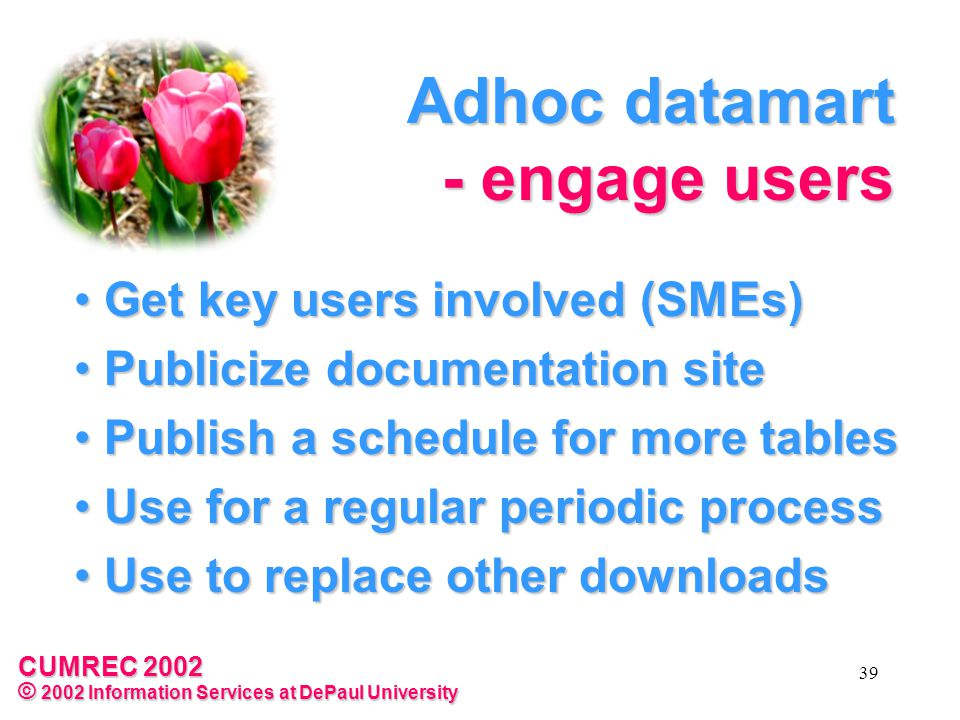 CUMREC 2002 © 2002 Information Services at DePaul University 39 Adhoc datamart - engage users Get key users involved (SMEs) Get key users involved (SMEs) Publicize documentation site Publicize documentation site Publish a schedule for more tables Publish a schedule for more tables Use for a regular periodic process Use for a regular periodic process Use to replace other downloads Use to replace other downloads