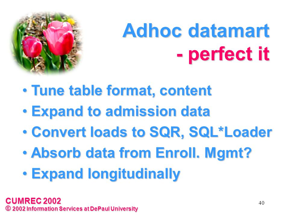 CUMREC 2002 © 2002 Information Services at DePaul University 40 Adhoc datamart - perfect it Tune table format, content Tune table format, content Expand to admission data Expand to admission data Convert loads to SQR, SQL*Loader Convert loads to SQR, SQL*Loader Absorb data from Enroll.
