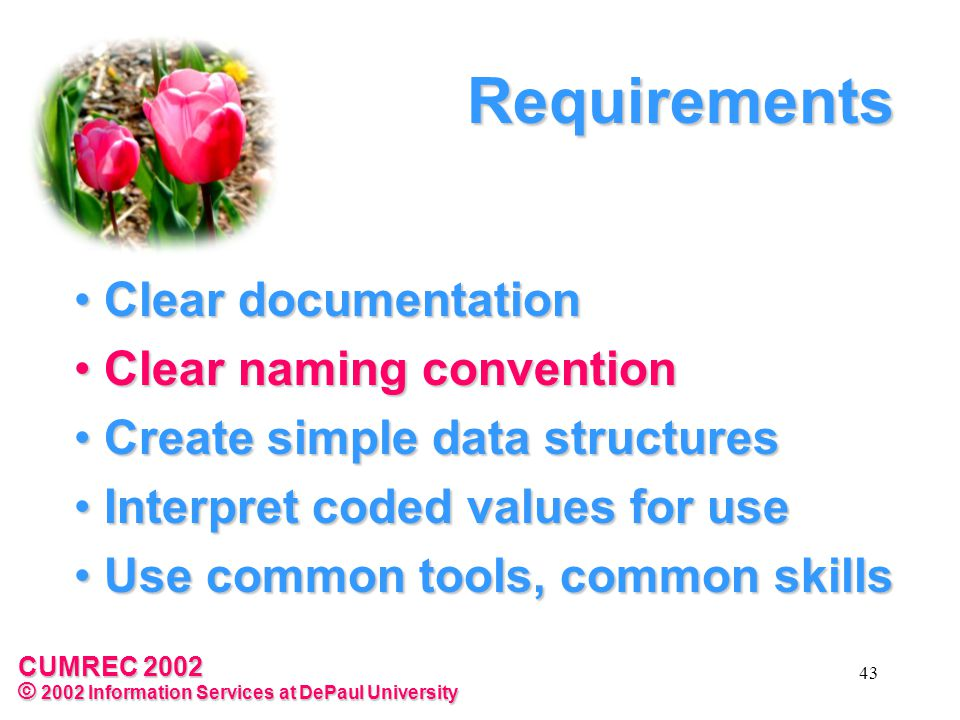 CUMREC 2002 © 2002 Information Services at DePaul University 43 Requirements Clear documentation Clear documentation Clear naming convention Clear naming convention Create simple data structures Create simple data structures Interpret coded values for use Interpret coded values for use Use common tools, common skills Use common tools, common skills