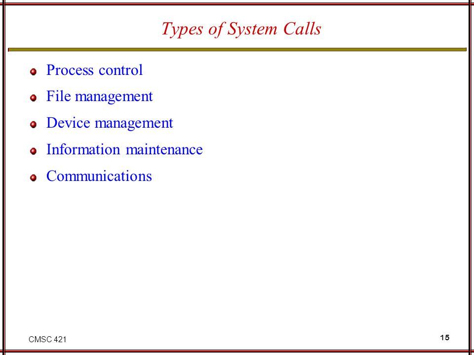 CMSC 421 15 Types of System Calls Process control File management Device management Information maintenance Communications