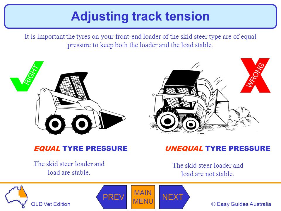 © Easy Guides AustraliaQLD Vet Edition MAIN MENU NEXTPREV WRONG Adjusting track tension It is important the tyres on your front-end loader of the skid