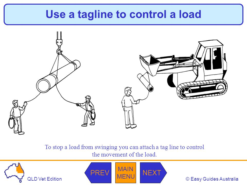 © Easy Guides AustraliaQLD Vet Edition MAIN MENU NEXTPREV Use a tagline to control a load To stop a load from swinging you can attach a tag line to co