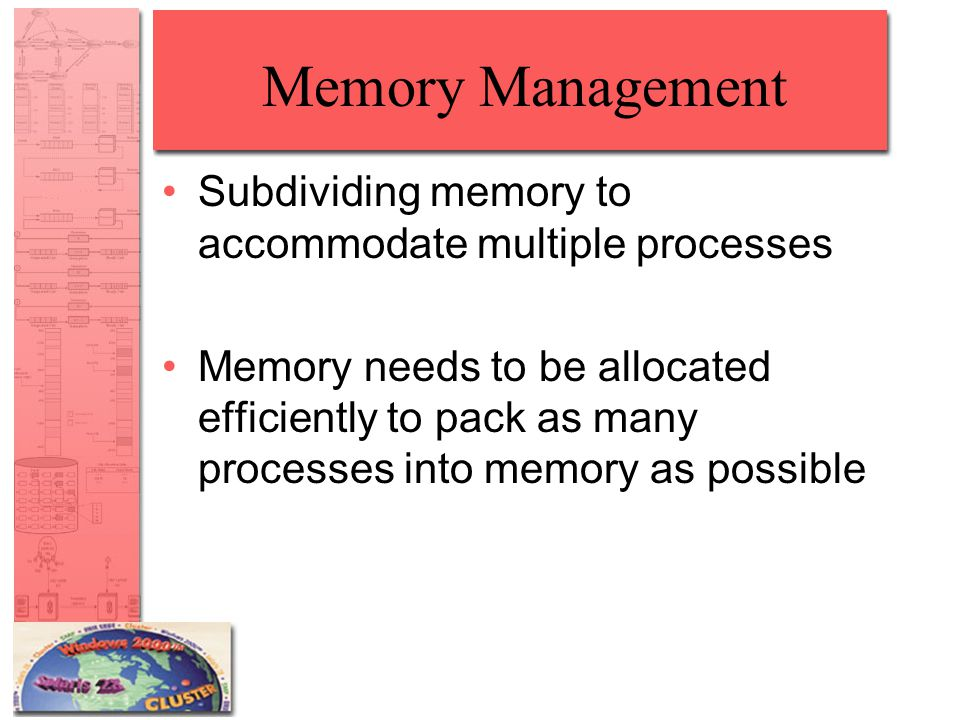 Dynamic Partitioning Placement Algorithm Next-fit –More often allocate a block of memory at the end of memory where the largest block is found –The largest block of memory is broken up into smaller blocks –Compaction is required to obtain a large block at the end of memory