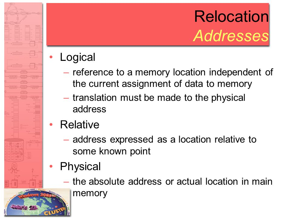 Relocation Addresses Logical –reference to a memory location independent of the current assignment of data to memory –translation must be made to the