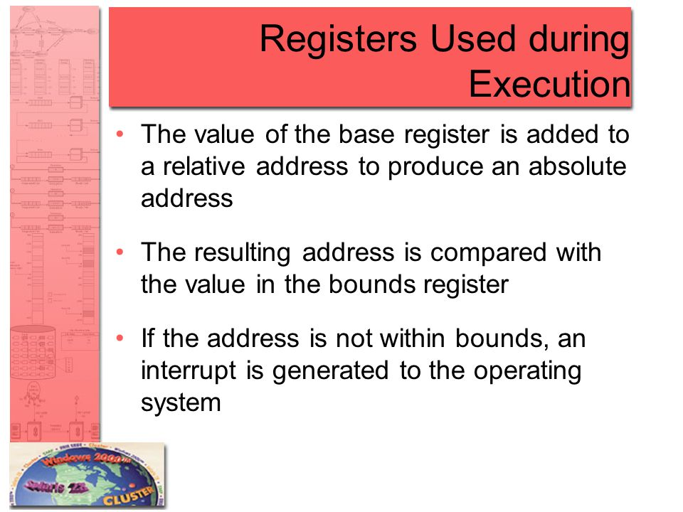 Registers Used during Execution The value of the base register is added to a relative address to produce an absolute address The resulting address is