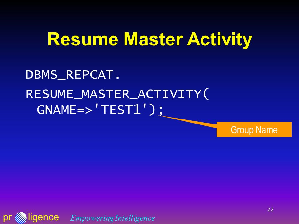 prligence Empowering Intelligence 22 Resume Master Activity DBMS_REPCAT.