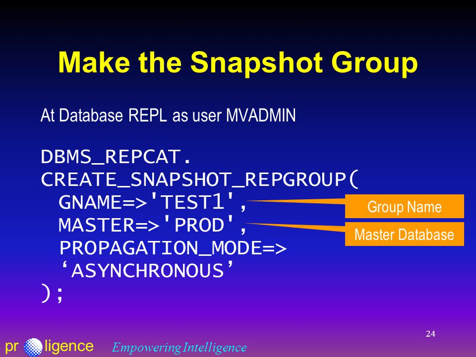 prligence Empowering Intelligence 24 Make the Snapshot Group At Database REPL as user MVADMIN DBMS_REPCAT.