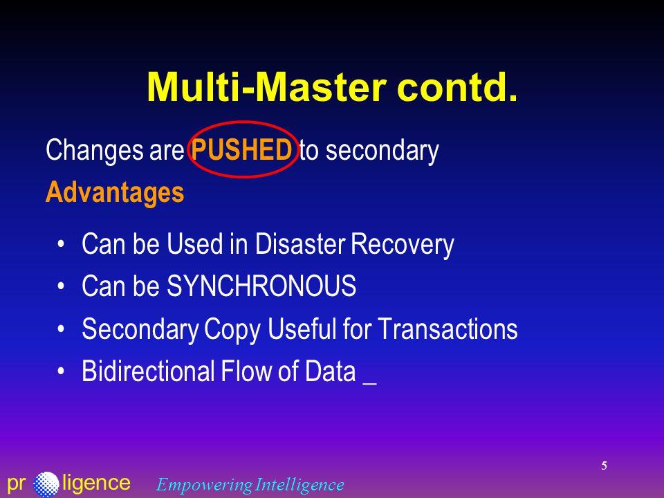 prligence Empowering Intelligence 5 Multi-Master contd.