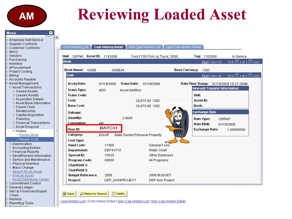 Reviewing Loaded Asset AM